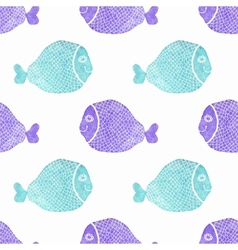Watercolor seamless pattern with fish on the white vector