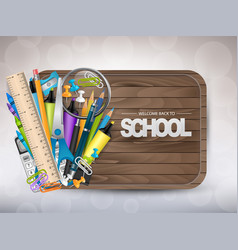 Welcome back to school wooden banner vector