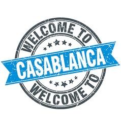 Welcome to Casablanca blue round vintage stamp vector