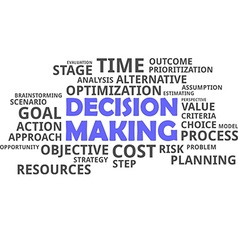 word cloud decision making vector image