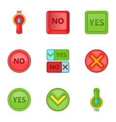 Yes and no button icons set cartoon style vector