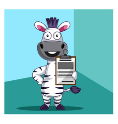 Zebra with schedule on white background vector