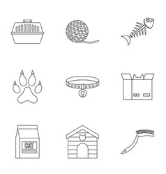 cat toys icons set outline style vector image