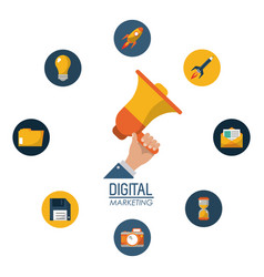 Digital marketing hand holding megaphone campaign vector