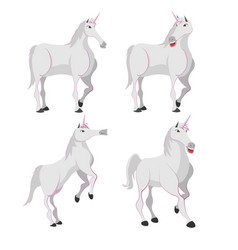 Horse white unicorn character set vector