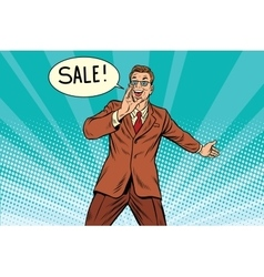 sale businessman promoter vector image vector image