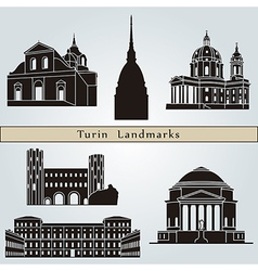 Turin landmarks and monuments vector image