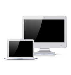white monitor and notebook with black screen vector image vector image