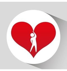 Athlete silhouette heart beat stretching vector
