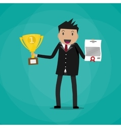 businessman winner holding certificate and trophy vector image vector image