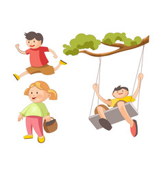children little boys girls playing toys and vector image