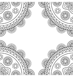 Doodle boho frame in black and white vector image vector image