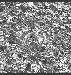 gray hand drawn wave seamless pattern vector image