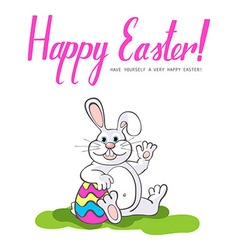 Happy Easter Easter bunnies and egg in field vector image