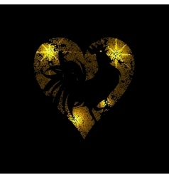Heart of light dots and stars on a black vector image