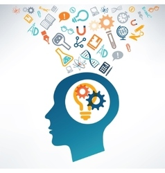 Human head and science icons The concept of vector image