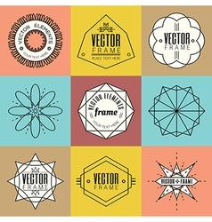 Set line art insignia retro vintage design element vector image vector image