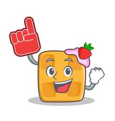 Waffle character cartoon design with foam finger vector