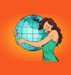 woman hugging the earth mainland america vector image vector image