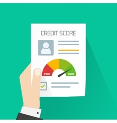 Credit score document concept hand holding vector image vector image