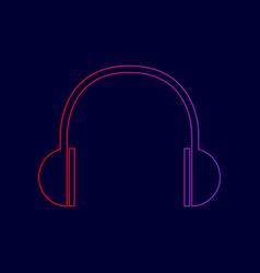 headphones sign line icon vector image vector image