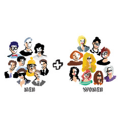 men and women group people isolate on white vector image