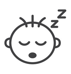 baby boy sleep line icon child and infant vector image