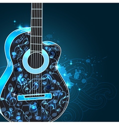 Guitar and blue notes vector image vector image