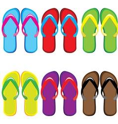 pairs of flip flops vector image vector image