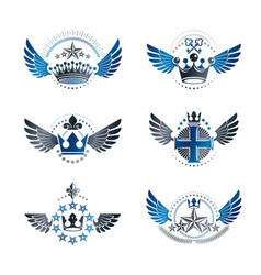 royal crowns and ancient stars emblems set vector image vector image