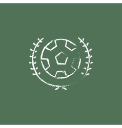 Soccer badge icon drawn in chalk vector image vector image