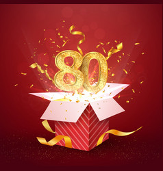 80 th years number anniversary and open gift box vector