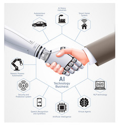 ai robot and business man handshake together vector image