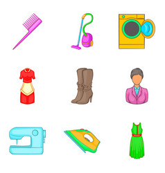 Androgynous icons set cartoon style vector