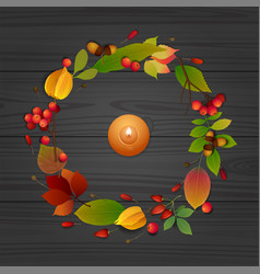 autumn composition with candle on wooden table vector image