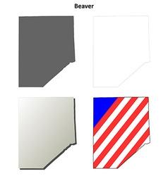 Beaver map icon set vector