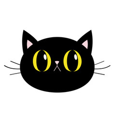 black cat round head face icon big yellow eyes vector image