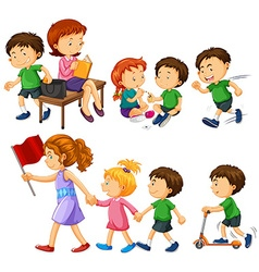 Boy in green shirt doing different activities vector image vector image