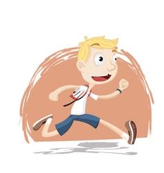 Boy running in school uniform vector