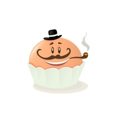 Character cupcake on a white background vector image