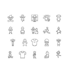 children clothing line icons signs set vector image