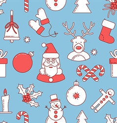 Christmas line design seamless pattern vector