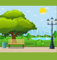 city park bench under a big green tree vector image