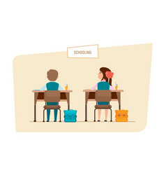 Classmates sit next to each other behind desks vector