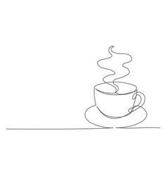 coffee one line drawing coffee cup in line vector image