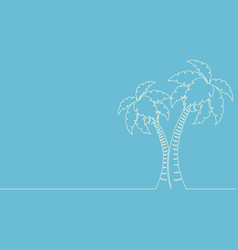 continuous one line drawing palm tree line vector image
