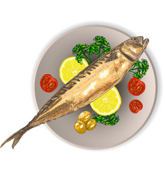cooked fish and raw vegetables on a plate vector image