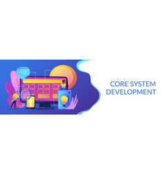 core system development concept banner header vector image