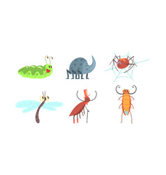 Cute funny insects set caterpillar rhinoceros vector