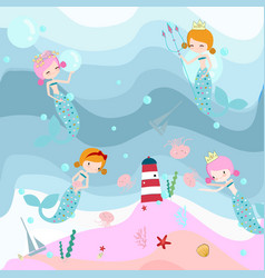 Cute sweet pink and blue mermaid vector